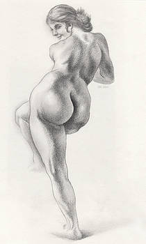 Angelina in 5B Standing Nude Leaning onto an Art-Studio Pedestal Laughing Softly by Scott Kirkman