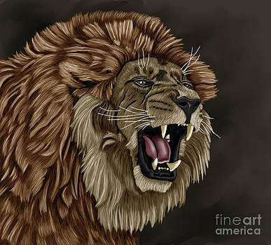Angry Lion by Karen Sheltrown