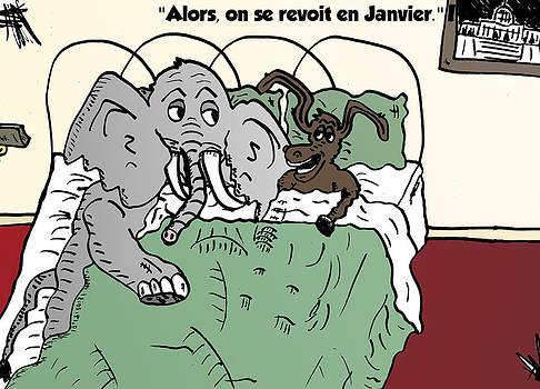 Animaux politique au lit comique by OptionsClick BlogArt