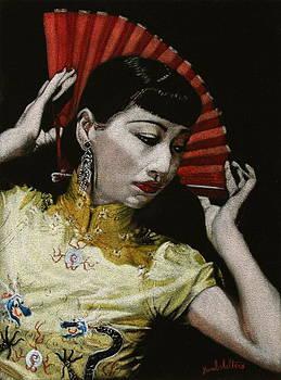 Anna May Wong Black Velvet Painting by Diane Bombshelter