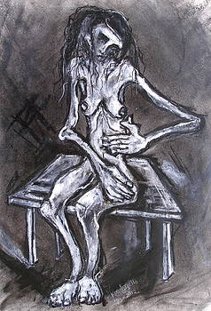 Another Seated Female Model On Small Table by Kenneth Agnello