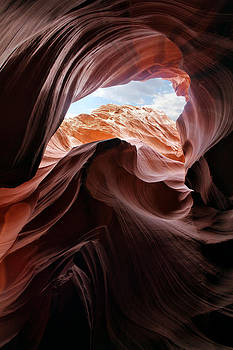Antelope Canyon Blue Sky by Cedric Darrigrand