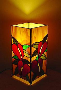 Anthurium Garden stained glass lamp by DK Nagano