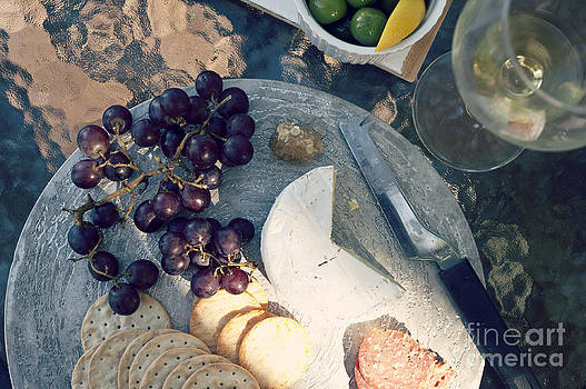 Antipasto Cheese Grapes Crackers And Wine by Gillian Vann
