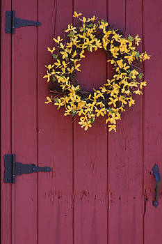Antique Door Decorated For Spring by Denyse Duhaime