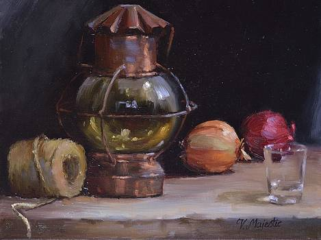 Antique Old Lantern and Onions by Viktoria K Majestic