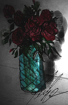 Antique Roses in Glass by Lee Green