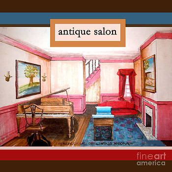 Antique Salon - Colonial Red And Blue by Kristie Hubler