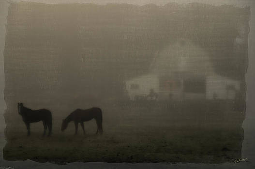 Mick Anderson - Antique Scene of Horses in a Fog
