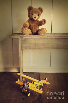 Sandra Cunningham - Antique toys on wooden bench with vintage look