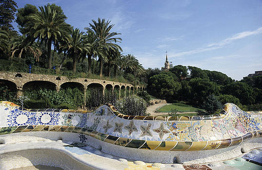 Antoni Gaudi's Guell park Barcelona by Jim  Wallace