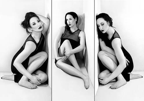 Anxiety 1 - Triptych - Self Portrait by Jaeda DeWalt
