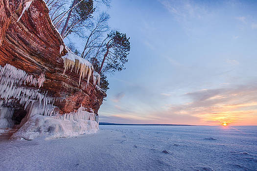 Apostle Islands Ice Cave Sunset by Christopher Broste