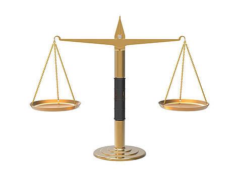 Apothecary scales in balance by Borislav Marinic