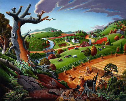 Appalachian Fall Thanksgiving Wheat Field Harvest Farm Landscape Painting - Rural Americana - Autumn by Walt Curlee