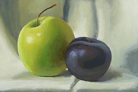 Apple and plum by Peter Orrock