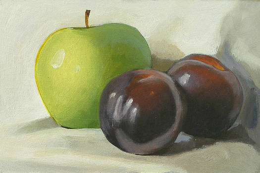Apple and plums by Peter Orrock