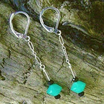 Apple Green Chrysoprase  Onxy  Sterling Earrings by Ann Mooney