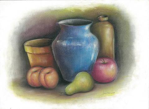 Apple Pear Peach by Jim  Romeo