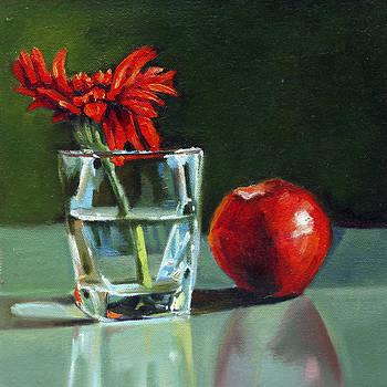 Apple With Glass by Sangeeta Takalkar