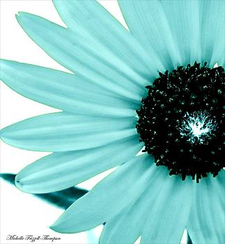 Aquamarine sunflower burst by Michelle Frizzell-Thompson