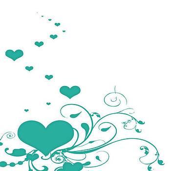 Tracey Harrington-Simpson - Aquamarine Valentine hearts On A White Background