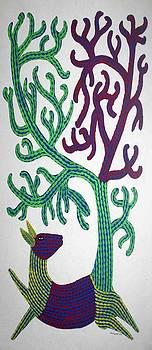AR-13- Dear with tree1995 by Bhajju Shyam