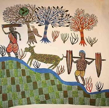 AR 16- village scene  by Kala Bai Shyam