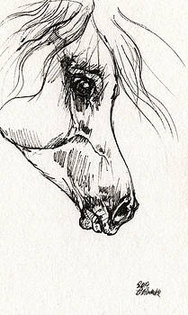 Angel Ciesniarska - Arabian horse sketch 2014 05 30b