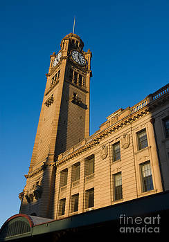Architecture of the Past - a tall Station Clock Tower by David Hill