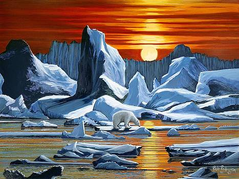 Arctic Sunset polar bear by Bob Patterson