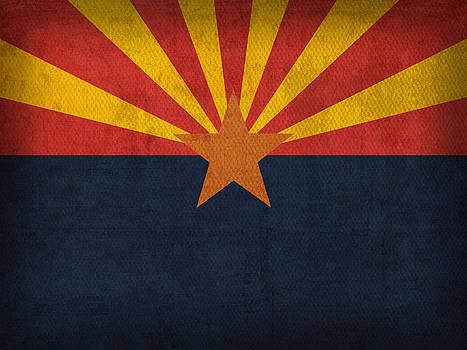 Design Turnpike - Arizona State Flag Art on Worn Canvas