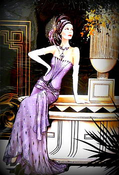 Art Deco Lady in Purple by The Creative Minds Art and Photography
