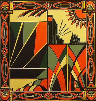 Art Deco In Orange by Emma Childs