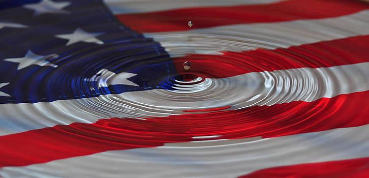 Art Drops of Water on American Flag by Mischelle Lorenzen