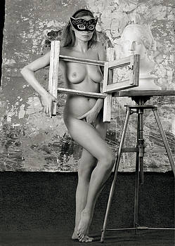Art Model posing nude in front of abstract painted background by Anton Oparin