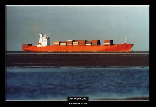 Alexander Drum - Art Work 091 red Container Ship