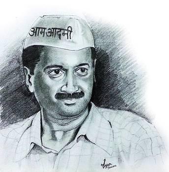 Arvind Kejriwal AAP Sketch  by Mayur Sharma