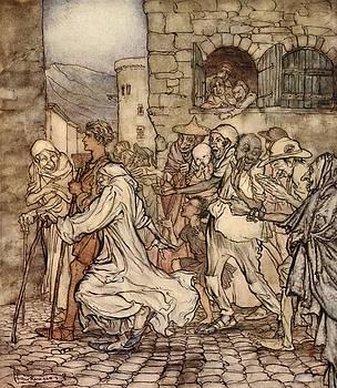 Arthur Rackham - As Perseus Walked Along The People