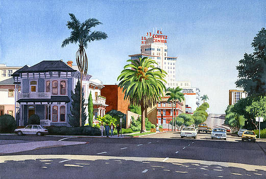 Ash and Second Avenue in San Diego by Mary Helmreich