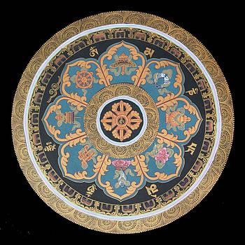 Ashta-mangala Mandala Thangka  by Ts