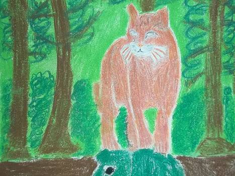 Asian Golden Cat Mix Media On Paper by William Sahir House