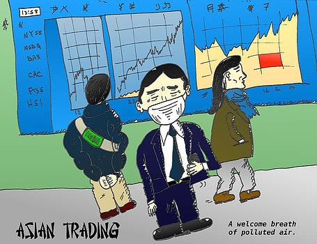Asian markets and air pollution cartoon by OptionsClick BlogArt
