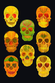 Aspen Leaf Skulls Poster 2014 Black by Agustin Goba
