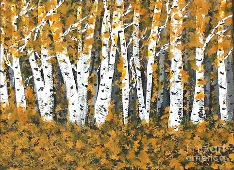 Gail Matthews - Aspens Trees Bright in Fall