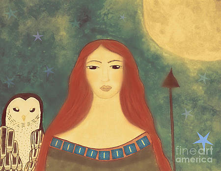 Athena Goddess Folk Art by Sacred  Muse