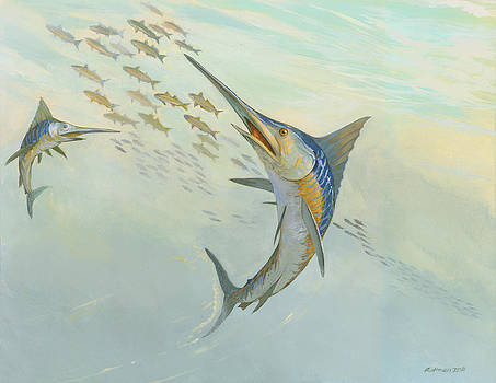 Atlantic Blue Marlin by ACE Coinage painting by Michael Rothman