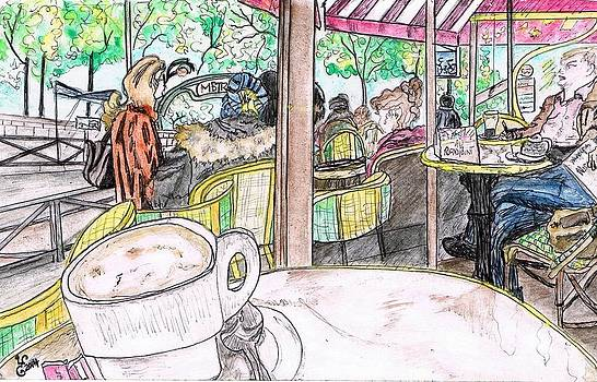 Au Rond Point Cafe Paris by Yabette Swank