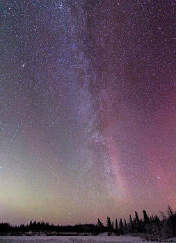 Aurora and the Milky Way by Valerie Pond