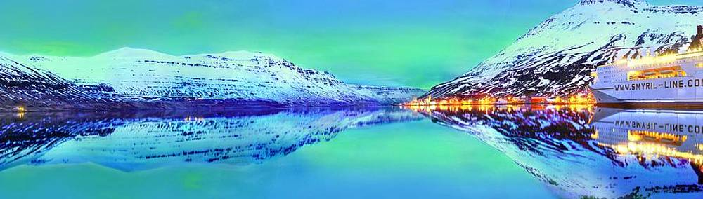 Aurora Borealis Over Iceland Panorama by Julia Fine Art And Photography